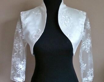 Lace & Satin Bolero 3/4 Sleeves / Shrug / Wedding Jacket / Wrap Fully Lined - UK 4-26 - Colours available : Ivory, White