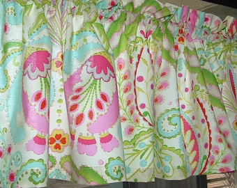 "NEW GARDEN FLORAL print Valance Cotton  Window Treatment Kumari Valance 40 x 12""  14"" 18"" 24"" 32"" Long Unlined or Lined"