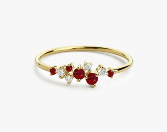 Ruby Ring / Ruby and Diamond Cluster Ring / Unique Ruby Stackable Ring / Ruby Ring Gold / Ruby Emerald Jewelry / Natural Ruby Ring 14k Gold