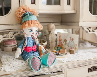 """Doll Making Kit, Set for sewing doll, Textile doll """"Clever girl"""", Set for textile doll, Handmade doll, Sewing kit"""