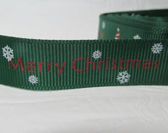 "5 yards Grosgrain ribbon 5/8"" Merry Christmas tree, snowflakes on green background"