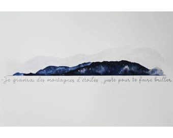 Watercolor mountains and stars, handmade