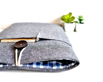 "MacBook Pro Case, MacBook Air Cover 11"", 13"" to 15.4"" MacBook Sleeve Custom Fit Laptop or Chromebook Padded w Pocket - Gray and Plaid"