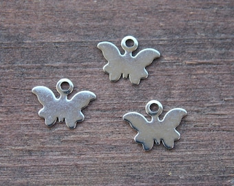 4 Stainless Steel Butterfly Charms 10mm