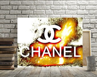 Chanel Art, Fun Gold Chanel Logo Print, Chanel Decor, Poster or Canvas, Feminine Wall Art, Modern Pop Art Picture, Chanel Gift Bright Colors