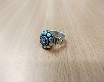 Old Tuareg Silver Ring with chevron from southern Morocco