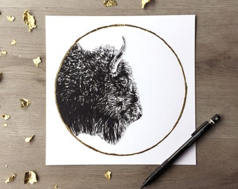 Bison hunter s lune octobre - copie d'un dessin Original de Graphite avec feuille d'or - imprimé Animal Portrait Bison