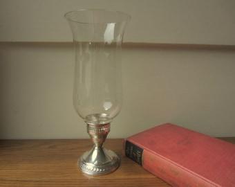 Vintage sterling candlestick. Crystal chimney.