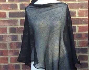 Black Linen Elegant Knit Poncho Cape. Minimalistic Natural Linen  Cape . Weddings, Parties. Glamour poncho wrap . Dia de los Muertos Cape