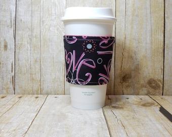 Fabric Coffee Cozy / Love Coffee Cozy / Valentine's Coffee Cozy / Coffee Cozy / Tea Cozy