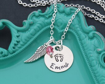 Miscarriage Necklace • Miscarriage Gift • Infant Loss • Baby Necklace • Baby Footprints Necklace • Personalized Name • Angel