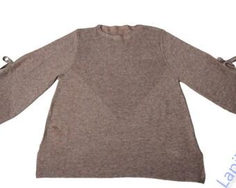 Beige Loose Ribbon Knit Sweater