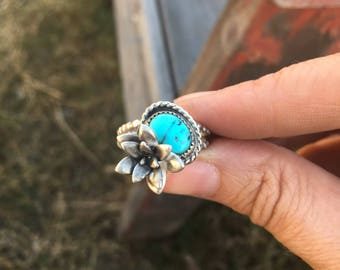 Sleeping Beauty Turquoise Succulent Ring