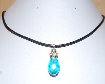 Blue Glass Crystal Necklace,Blue Leather Chocker Necklace,Choker Necklace,Girl,Woman,Chic,Cord Necklace,Blue Choker Necklace,Lobster Lock