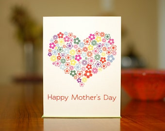 Floral Heart Mother's Day Card on 100% Recycled Paper