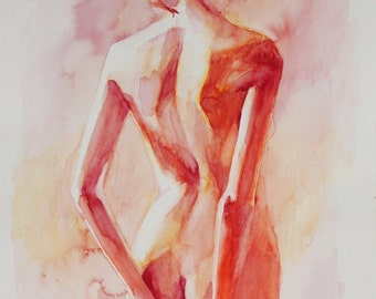 "Watercolor Painting of  Female Back in Soft Reds Open Edition Fine Art Print  ""B.e.a."""