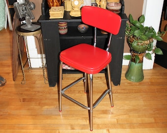 Mid Century Kitchen Chair Bar Stool Chrome and Red Vinyl 1950s Cosco