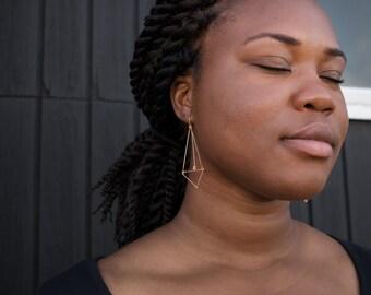 Long Geometric Earrings Geometric Modern Minimal Earring Gold, Dark silver, Dainty Earrings