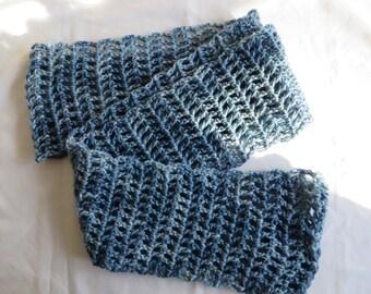 """80""""  Circle Scarf - Denim, scarf, crocheted, denim"""