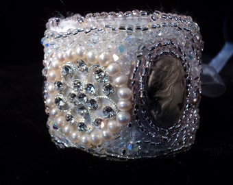 BoHo Cuff Bracelet Crystals Pearls Cameos Pink Pearls Victorian Bracelet