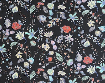 Liberty fabric  Tana Lawn Pirouette 5x10'' scrap -  Black - NEW The Garden of Temptation Collection