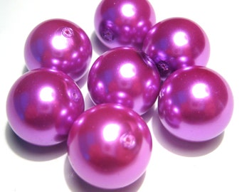 10pcs Large Magenta Glass Pearl Beads 16mm round