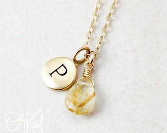 Golden Rutile Quartz Necklace - Letter Necklace - Gifts Under 30