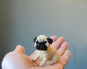 Miniature Pug Puppy, Little Dollhouse Puppy, Needle Felted Dog, Realistic Pug Puppy - made to order