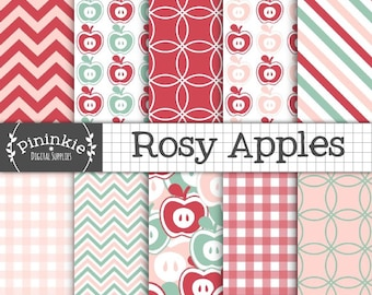 Apple Digital Scrapbook Paper, Fruit Digital Paper Pack, Pink Gingham, Instant Download, Commercial Use