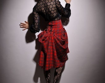 SteamPunk Inspired Tartan Black Red Yellow Bustle Avant Garde Drapes Skirt