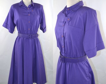 1980s Violet Purple Shirtwaist Dress by The American Shirt Dress