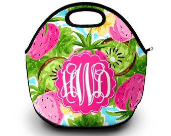Monogrammed Lilly Pulitzer Inspired Lunchbox, Lunch Bag for Women, Monogrammed Lunch Tote, Monogrammed Gift, Monogram Lunch Box