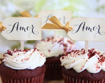 Amor, Love, Cupcake toppers, Wedding, Anniversary, Spanish