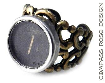 Steampunk Ring - Typewriter Key Ring - Letter I Ring Name Ring - Custom Initial Ring - Brass Adjustable Ring