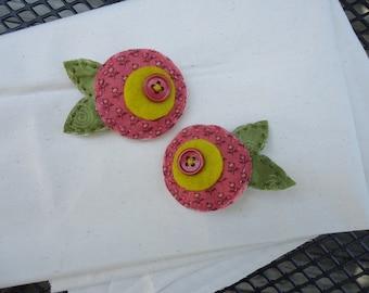 Fabric soft flower Barrettes