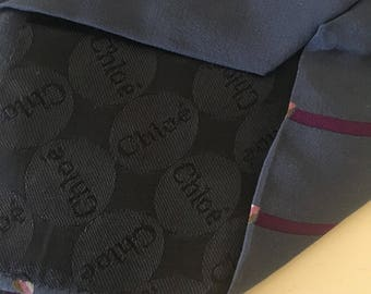Chloe silk tie - blue silk tie - vintage silk tie