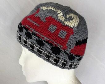 Train & Tracks Hat - Locomotive, Coal Car, Passenger Car, Caboose Knitting Pattern Original Design