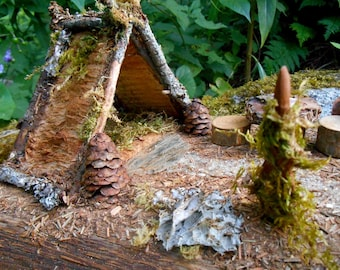 Fairy Camp diorama with Fairy House Shelter, Mossy Forest Campsite, fireplace, fairy garden accessories, Miniatures