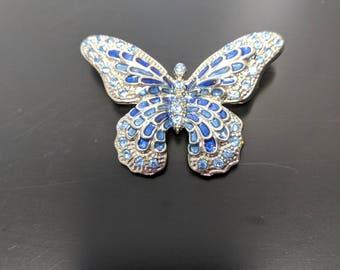 Vintage blue butterfly brooch pin