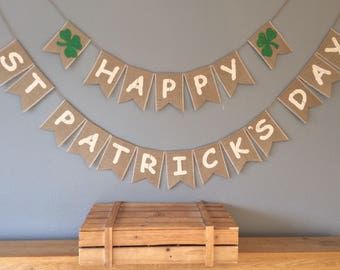 St. Patrick's Day Irish Lucky Clover Hessian Bunting Party Banner Burlap