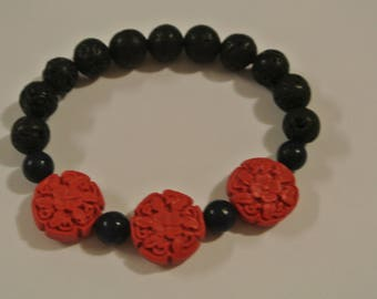 Red and Blue Beads with Black Lava Stone Beads