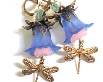 Dragonfly, Flower Earrings, Swarovski Crystal Beads, Green, Blue, Pink Earrings, Copper Findings, Resin Blue Bells, Czech Glass Pink Beads