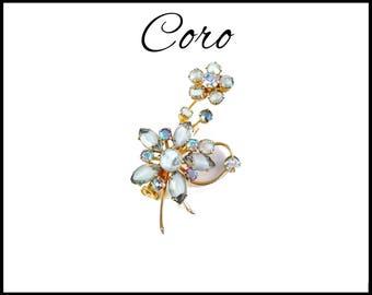 CORO Blue Aurora Borealis Rhinestone Brooch, Blue Gray Givre Glass & AB Rhinestone Flower, Tall AB Flower, Lapel Brooch, Gift for Her