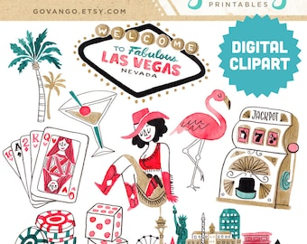 LAS VEGAS Digital Clipart Instant Download Illustration Watercolor Commercial Use Gambling Casino Nevada City Skyline Dice Slot Machine