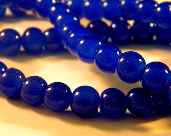 "10 bright glass beads - 10 mm - way ""jade"" - blue royal G145"