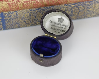 Antique Ring Box Engagement or Wedding Ring Box - Incredible Blue Velvet Interior