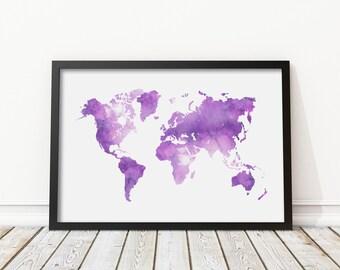 Navy blue watercolor world map print blue world map poster lavender watercolor world map print purple world map poster morden art prints home wall art instant download digital print jpg gumiabroncs Choice Image