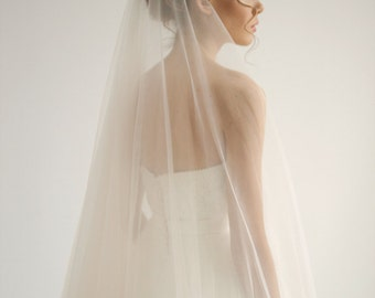Cathedral italian soft tulle wedding veil with knee blusher in peach color, blusher wedding veil, unique wedding veil, Peach - Style V10