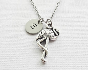 Flamingo Initial Necklace Pink Flamingo Florida Sunshine State Animal Bird Silver Jewelry Personalized Monogram Hand Stamped Letter Disc