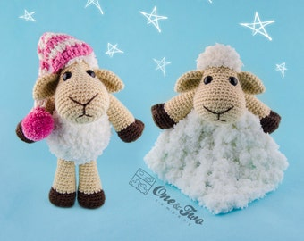 Combo Pack - Chloe the Sheep Lovey and Amigurumi Set for 7.99 Dollars - PDF Crochet Pattern Instant Download - Special Offer